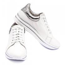 Кроссовки белые кожаные 8051, фото 2