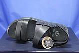 Чоловічі шкіряні сандалії чорні Bertoni, фото 3