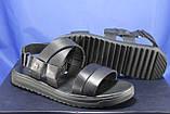 Чоловічі шкіряні сандалії чорні Bertoni, фото 2
