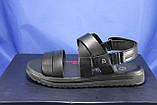Чоловічі шкіряні сандалії чорні Bertoni, фото 5