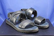 Мужские кожаные сандалии на липучке синие Bertoni