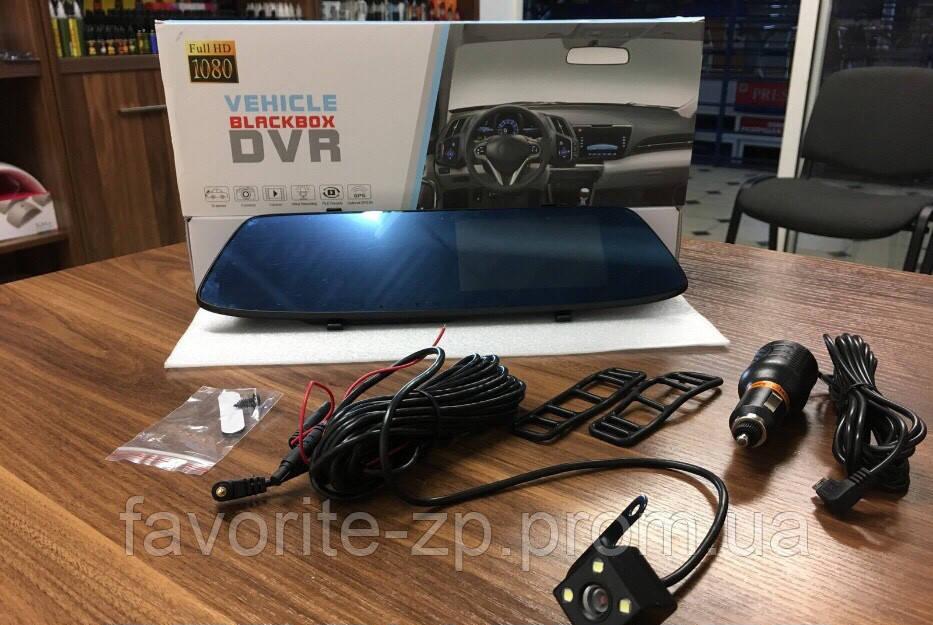 Видеорегистратор зеркало заднего вида: 2 камеры, Full HD, сенсорный