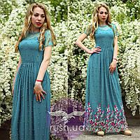 Вечернее платье в пол с бусинами и вышивкой, фото 1