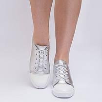 Кеды серебристые с белым носком 8030, фото 3