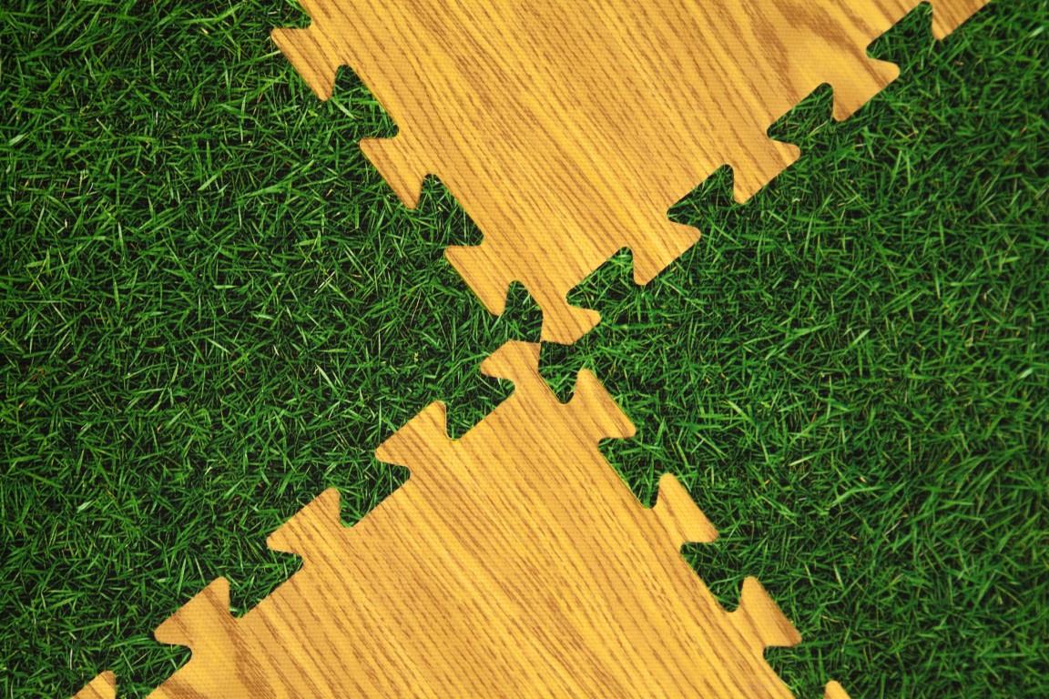 """М'яка підлога (килимок-пазл 30*30*1 см) Eva-Line """"Трава/Дуб"""""""