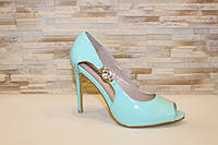 Туфли летние женские бирюзовые лаковые на каблуке код Б198