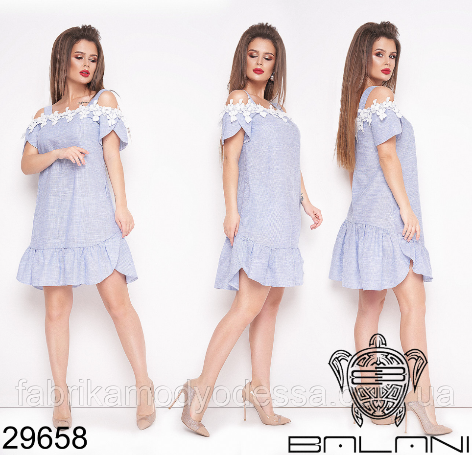 Короткое льняное платье Фабрика моды Одесса Украина Размеры: 44,46,48