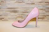 Туфли летние женские розовые лаковые на каблуке код Б199, фото 2