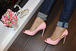 Туфли летние женские розовые лаковые на каблуке код Б199, фото 4