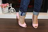 Туфли летние женские розовые лаковые на каблуке код Б199, фото 5