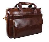 Мужская кожаная сумка Dovhani R0092 Коричневая , фото 4