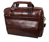 Мужская кожаная сумка Dovhani R0092 Коричневая , фото 5