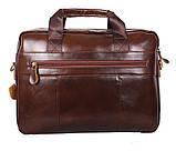 Мужская кожаная сумка Dovhani R0092 Коричневая , фото 6