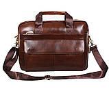 Мужская кожаная сумка Dovhani R0092 Коричневая , фото 7