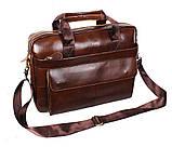 Мужская кожаная сумка Dovhani R0092 Коричневая , фото 8