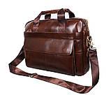 Мужская кожаная сумка Dovhani R0092 Коричневая , фото 9