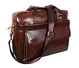 Мужская кожаная сумка Dovhani R0092 Коричневая , фото 10