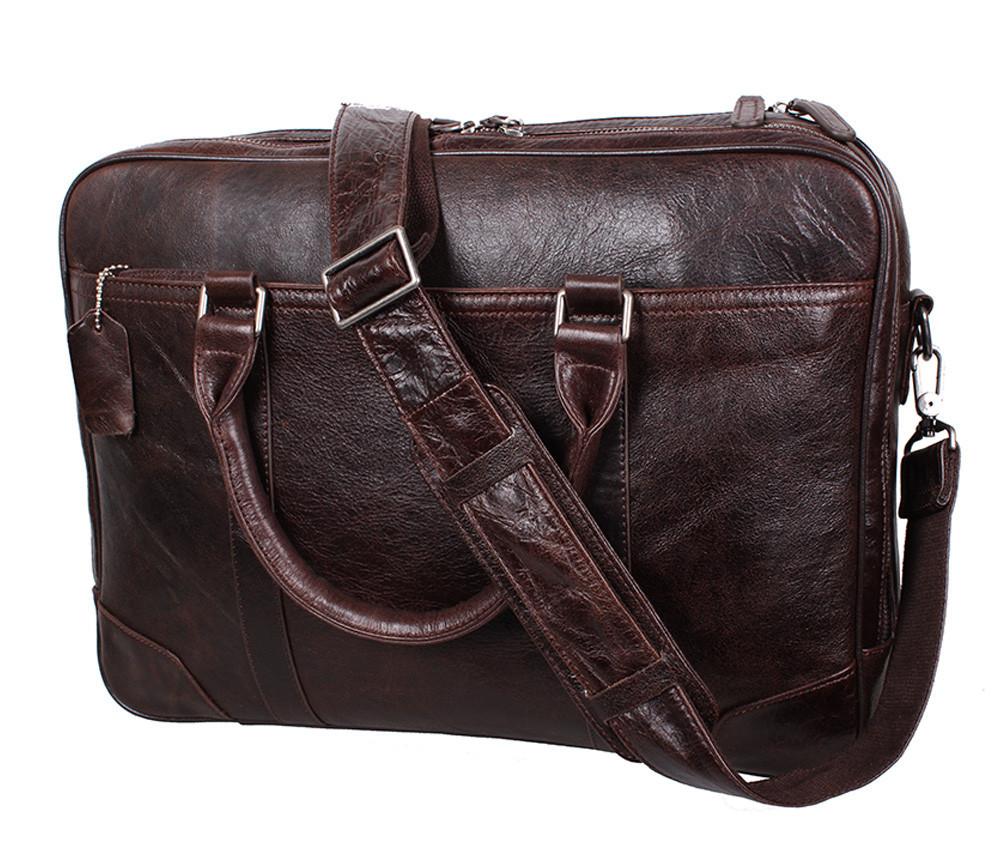 Мужская кожаная сумка с отделением под ноутбук Dovhani 9086-38 Коричневая