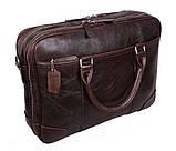 Мужская кожаная сумка с отделением под ноутбук Dovhani 9086-38 Коричневая, фото 2