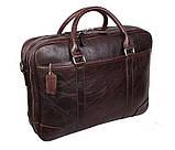 Мужская кожаная сумка с отделением под ноутбук Dovhani 9086-38 Коричневая, фото 3