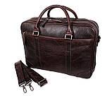 Мужская кожаная сумка с отделением под ноутбук Dovhani 9086-38 Коричневая, фото 4