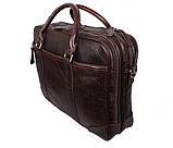 Мужская кожаная сумка с отделением под ноутбук Dovhani 9086-38 Коричневая, фото 5