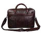 Мужская кожаная сумка с отделением под ноутбук Dovhani 9086-38 Коричневая, фото 6