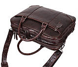 Мужская кожаная сумка с отделением под ноутбук Dovhani 9086-38 Коричневая, фото 7