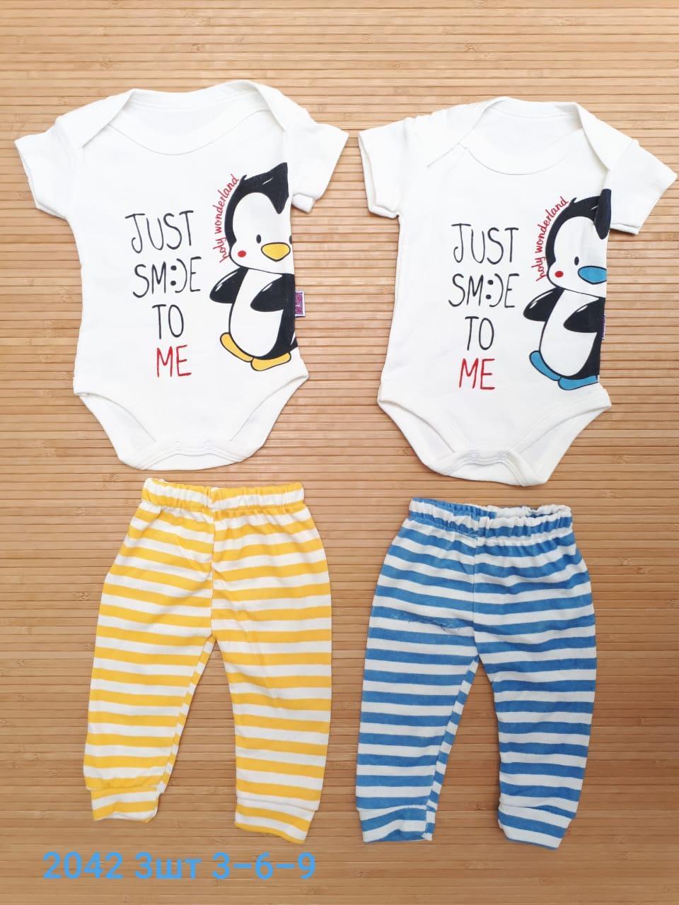 """Детский набор  боди с коротким рукавом  +штанишки  """" Пингвин """"  3-9"""