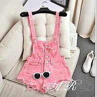 Летний джинсовый комбинезон розового цвета с шортами 42-46 р