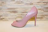Туфли летние женские пудра на каблуке код Б201, фото 2