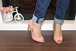 Туфли летние женские пудра на каблуке код Б201, фото 3