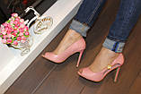 Туфли летние женские пудра на каблуке код Б201, фото 4