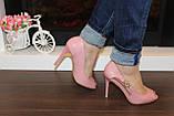 Туфли летние женские пудра на каблуке код Б201, фото 5