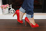 Туфли летние женские красные на каблуке код Б203, фото 3