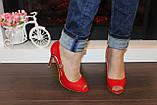 Туфли летние женские красные на каблуке код Б203, фото 5