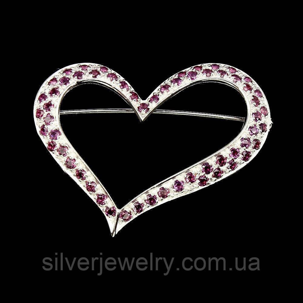 Срібна брошка з ГРАНАТОМ (натуральний!), срібло 925 пр.