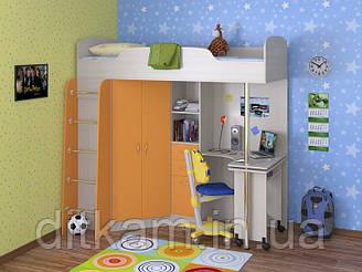 """Кровать чердак с рабочей зоной """"Теремок"""", дуб молочный + оранж"""