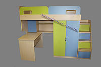 Кровать-чердак с шкафом и столом  Оскар, дуб молочный + лайм и капри