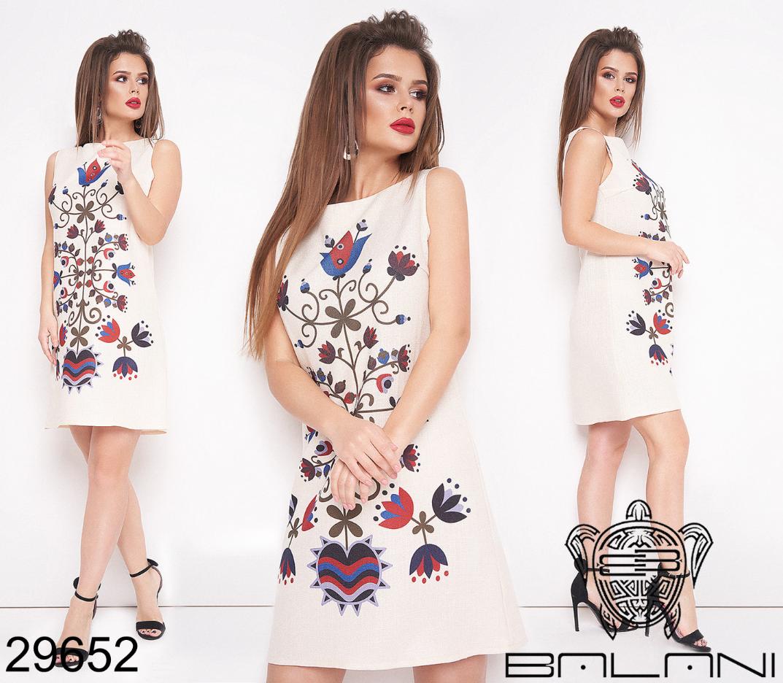 Короткое льняное платье Фабрика моды Одесса Украина Размеры: 42,44,46,48,50
