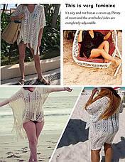 Женская пляжная туника Shermie ручная дизайнерская работа красная, фото 3