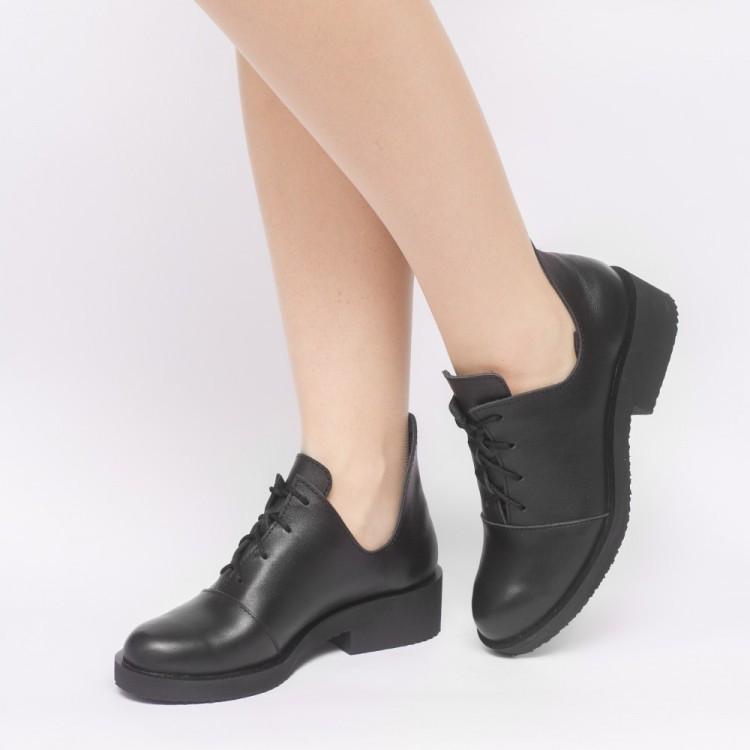 Туфли черные кожаные 902-00