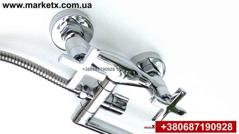 Латунний змішувач для ванни, змішувач для душа двухвентельний, фото 2