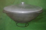 Казан чугунный азиатский 12 литров для плова с алюминиевой крышкой