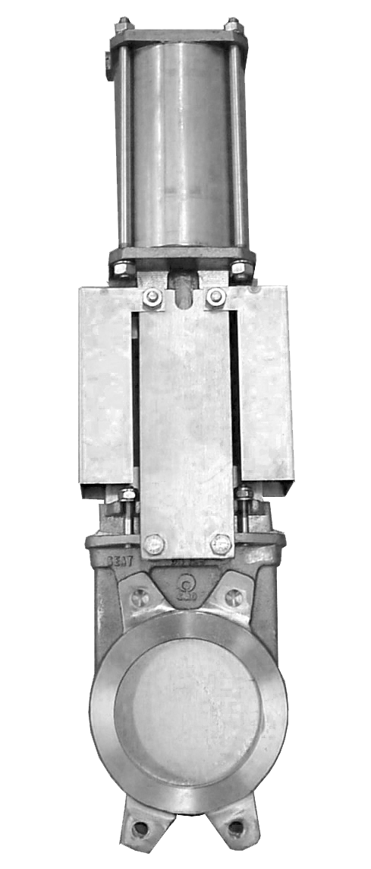 Задвижка двунаправленная DN100 PN 10 нж. сталь шиберно-ножевая с пневмоприводом Серия AB межфланцевого типа