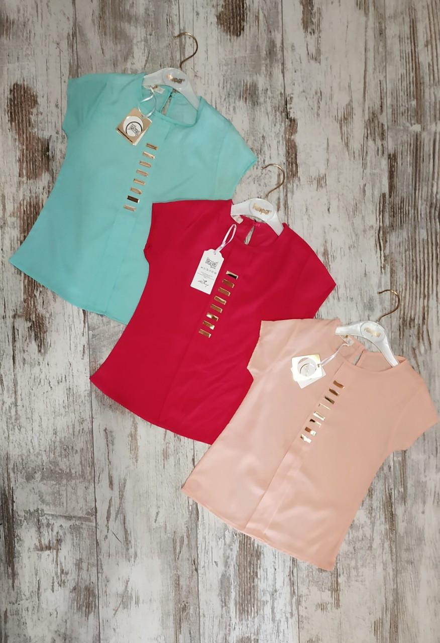 """Блузка детская """"Кнопка"""" #5026 для девочек 5-6-7-8 лет (110-116-122-128 см). Один цвет в упаковке. Оптом"""