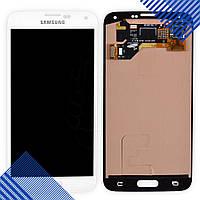 Дисплей Samsung Galaxy S5 G900H (i9600), G900F, G900T с тачскрином в сборе, цвет белый, большая микр