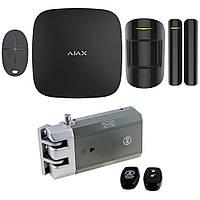 Комплект беспроводной сигнализации Ajax StarterKit black + Умный замок Lock SL-7710