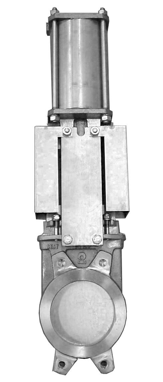 Задвижка двунаправленная DN450 PN 5 нж. сталь шиберно-ножевая с пневмоприводом Серия AB межфланцевого типа