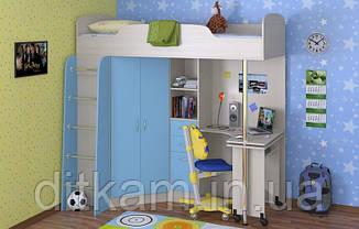 """Кровать чердак с шкафом и столом """"Теремок """""""